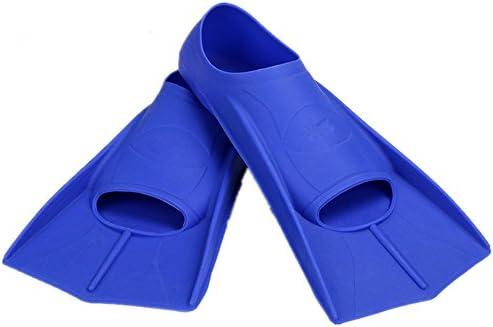 ダックウェブ 水泳シュノーケリング水生アクティビティに最適な超軽量ダイビングフィンブルーイエロー ダイビングフィン (色 : 青, Size : L)