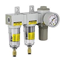 "PneumaticPlus SAU2030M-N02DG Mini Three Stage Air Drying System, 1/4"" NPT - Particulate Air Filter, Coalescing Filter, Air Pressure Regulator Combo - Poly Bowl, Auto Drain"