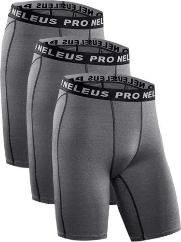 Neleus Men's 3 Pack Compression Short,047,Grey,US S,EU M by Neleus (Image #2)
