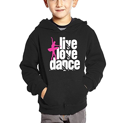 Joapron Live, Love, Dance Kids Long Sleeve Pocket Pullover Hooded Sweatshirt Black Size 3 Toddler