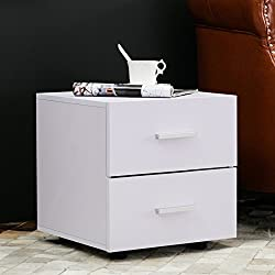 Mecor Nightstand Bedside Table Modern Wood Bedroom Furniture with 2 Drawers White