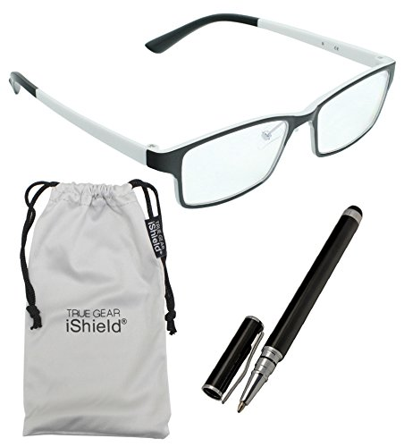 True Gear iShield Anti Reflective Coated Reading Glasses - Rectangular Frame (+1.75) - - White Frames Glasses Black