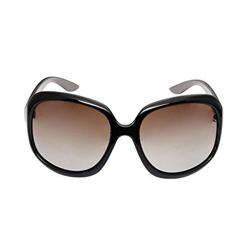 Brown 2 Clásico Anti WYYY UV gafas Luz Brown Protección 2 Protección Decoración Borde Color Polarizada Grande Solar Conducción Sra 100 UVA sol Gafas de De Retro rBag0rx