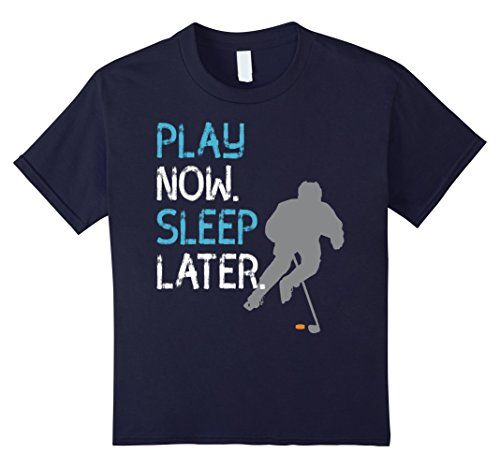 Hockey Puck Halloween Costume (Kids hockey icehockey puck stick play sport T shirt 8 Navy)