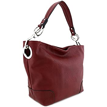 Women's Hobo Shoulder Bag with Big Snap Hook Hardware Burgundy