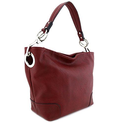 Women's Hobo Shoulder Bag with Big Snap Hook Hardware - Bag Handbag Purse Shoulder Hobo