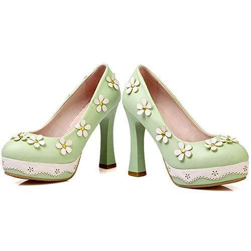 Mujer Alto Tacón Bombas Moda Zapatos Sin Verde Coolcept Cordones SqZwdUxZ