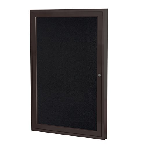 Ghent 24'' x 18'' Bronze Aluminum Frame Enclosed Recycled Rubber Bulletin Board, Black (PB12418TR-BK) by Ghent by Ghent