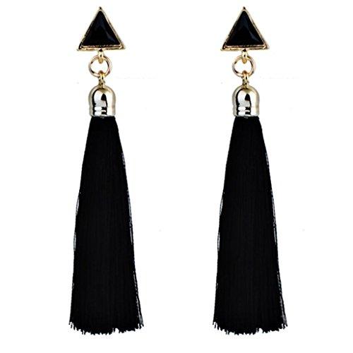 Willsa Bohemian Statement Thread Tassel Chandelier Drop Dangle Earrings Tassel Earrings (Black)