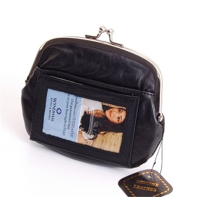 allet Metal Frame Zippered Coin Purse ID WIndow Card Case Black ()