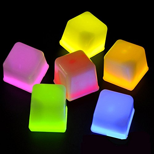 Glow Cube Multiple 12 Pieces Assorted Color LED Ice Cubes Shape Lights up Toy for Parties, Bars and Festival (Taylor Swift Red Concert Costumes)
