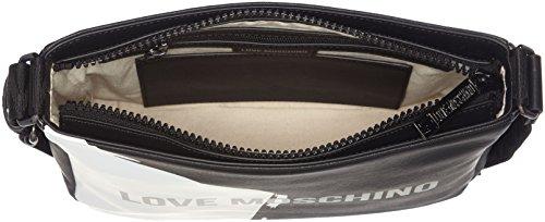Love Moschino Borsa Saffiano Pu Nero-bianco - Borse per PC portatili Uomo, Multicolore (Black-white), 7x24x28 cm (B x H T)