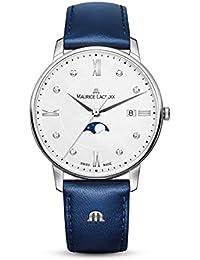 Women's Eliros Moonphase 35mm Watch | Silver/Blue Leather