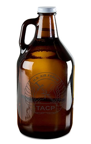 - Growler with US Airforce TACP Patch Etching - Tactical Air Control Party - For Beer, Wine, Whiskey, or Moonshine