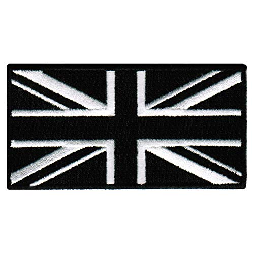 (Black Union Jack Embroidered Patch British England Flag UK Great Britain Iron-On)