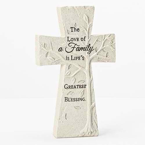 Family Cross - Love Of Family Embossed Tree Cross Ivory 5.5 x 8 Resin Stone Tabletop Figurine