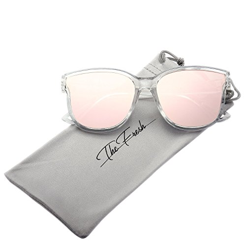 Halloween Contacts Prescription (The Fresh Women's Horn Rim Metal Accent Mirrored Square Flat Lens Cat Eye Sunglasses (Crystal, Pink))