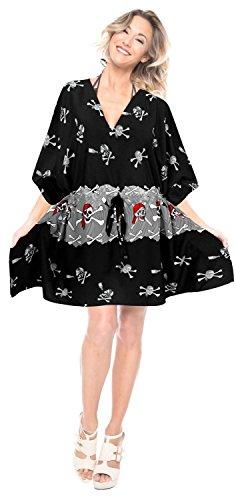 caftano costumi bagno insabbiamento spiaggia Nero dell'annata i517 dell'ibisco vestito likre da LA liscio tunica LEELA FtqxRxP4
