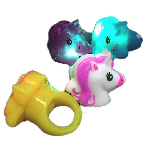 Unicorn Light Up Rings | Kids Party Favors | Novelty | Unicorn Party Supplies (LED Rings 12 PCS)