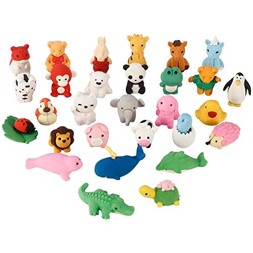 Animals Zoo Puzzle Shaped (Acekid Animal Erasers for Kids, 30pcs Japanese Pencil Erasers Set, Cute Mini Puzzle Eraser Toys for Novelty Party and School Supplies)