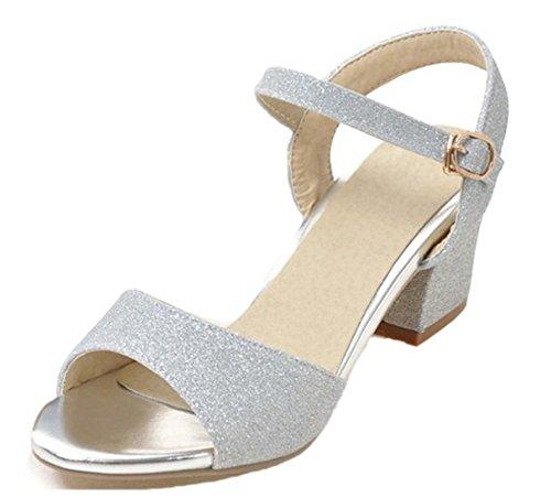 Buckled Toe Women's Aisun Sandals Daily Argento Shoes Peep MpqBFR