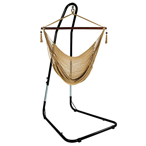 Sunnydaze Hanging Caribbean Extra Large Hammock Chair with Adjustable Stand, Soft-Spun Polyester Rope, 40 Inch Wide Seat, Max Weight: 300 Pounds, Tan For Sale