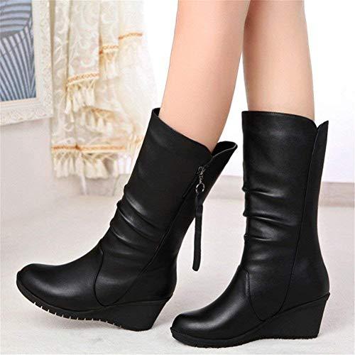 Eu PU y Ocasionales' Negro Cylinder Boots EU Botas 39 Heel SED Zipper 39 Calientes qxO6wSwpE
