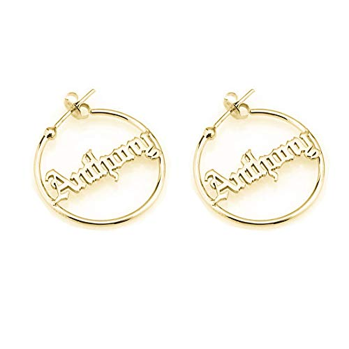 Personalized Old English Hoop Name Earrings for Women Gothic Style Custom Nameplate 925 Sterling Silver Earring (Gold)