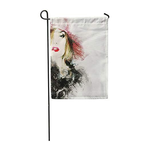 Semtomn Garden Flag 28x40 Inches Print On Two Side Polyester Sexy Style Woman Portrait Abstract Watercolor Makeup Paint Rose Shopping Artist Home Yard Farm Fade Resistant Outdoor House Decor Flag ()