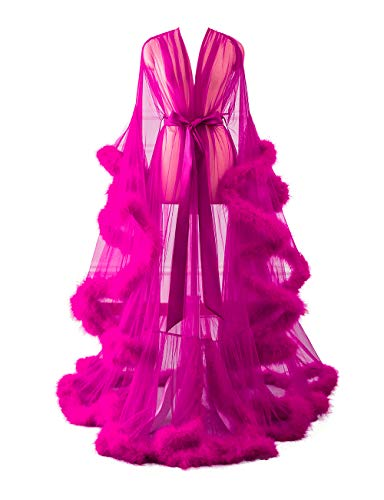 Changuan Sexy Feather Bridal Robe Tulle Illusion Long Wedding Scarf New Custom Made Fuchsia L/XL ()