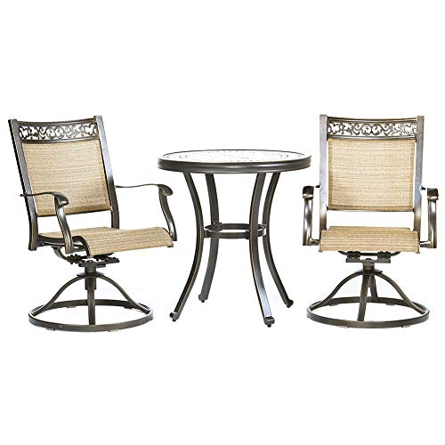 Set, Handmade Contemporary Round Table Swivel Rocker Chairs Garden Backyard Outdoor Patio Furniture ()