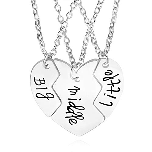 SwanElegant Sister Necklaces,Girl Gifts Heart Split Matching Big Sis Little Lil Sis Sisters Necklace Jewelry Set Best Friends (3 Pieces Heart Match)