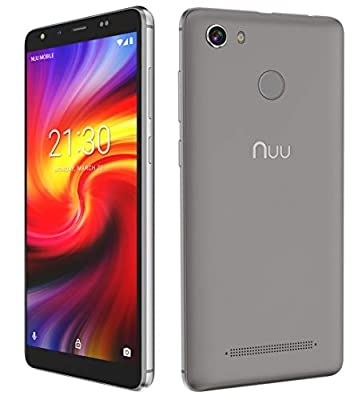 """NUU Mobile G1 5.7"""" 16GB Unlocked Cell Phone Android Oreo (Go Edition) - 1GB Ram Dual SIM GSM 4G LTE 8 MP Camera Fingerprint ID 5000 mAh Fast Charge Battery"""