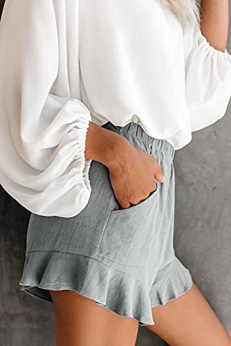 CNFUFEN Womens Comfy Shorts Summer Drawstring Pocketed Casual Wide Leg Short
