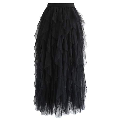 (Chicwish Women's Black Tiered Layered Mesh Ballet Prom Party Tulle Tutu A-line Midi Skirt )