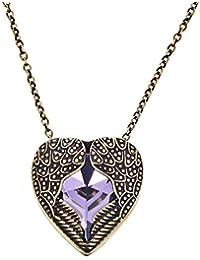 DaisyJewel Bronze and Purple Heart Angel Wings of Love Pendant Necklace