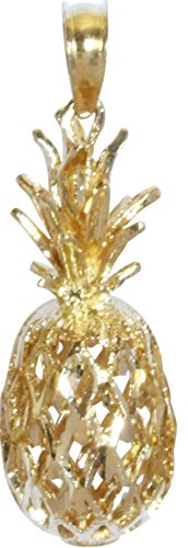 - 14K Solid Yellow Gold Hawaiian 3D Pineapple Necklace Pendant (L)
