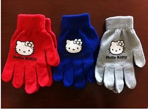 Hello Kitty Gloves for Children ages 5-12 Years-Various Colors (Red)