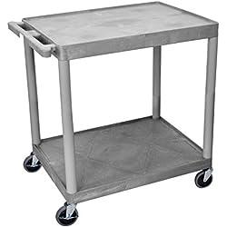 Luxor/H.Wilson 2 Shelf Utility Cart, Gray (TC22-G)