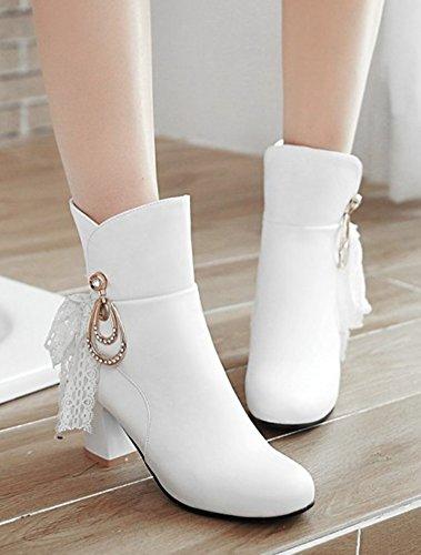 Aisun Femmes Mode Strass Mi Chunky Talon Bottines Habillées Pull On Bout Rond Bottes Courtes Blanc