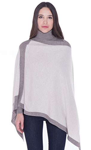 cashmere 4 U 100% Cashmere Poncho Asymmetrical Boat Neck Wraps for Women (Creme with Grege Broder)