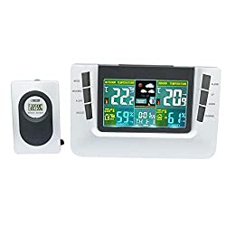 JIMEI Multi-Functional Digital Wireless Weather Station Forecaster with Alarm Clock Indoor and Outdoor Temperature Humidity Indicator Snooze LCD Color Display 116G