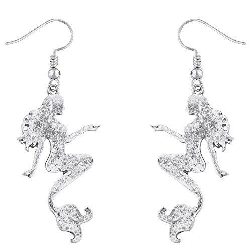 Lux Accessories burnished Silver Tone Mermaid Sea Life Novelty Dangle Earrings - Mermaid Dangle