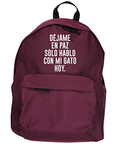 HippoWarehouse Déjame en Paz Solo Hablo con mi Gato Hoy kit mochila Dimensiones: 31 x 42 x 21 cm Capacidad: 18 litros Granate