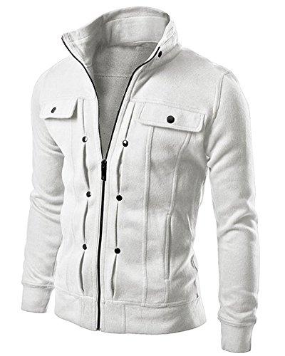ZhuiKun Cremallera Outwear Abrigos Tops Hombre Blanco Chaqueta La Capa Jacket Larga De Manga para De r4YqwnrUB