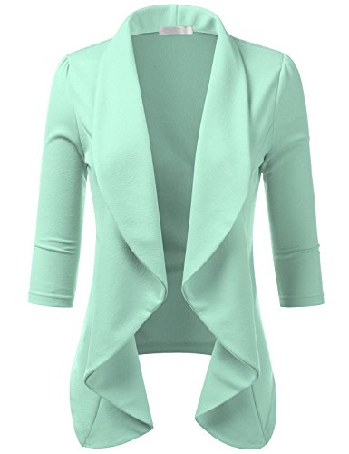 CLOVERY Women's 3/4 Sleeve Casual Work Knit Office Blazer Jacket Mint 2X Plus Size ()