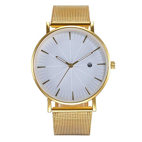 LUXISDE Watch Women Creative Embossed Meridian Student Mesh Belt Watch Lady Quartz Calendar Watch F