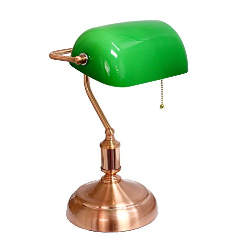 Simple Designs Home LT3216-OST Rose Gold Executive Banker's Desk Lamp with Green Glass Shade, Rose Gold, Green by Simple Designs Home