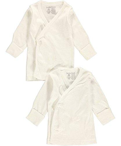 Luvable Friends 2-Pack Unisex L/S Side Snaps Shirts - white, 0 - 3 months