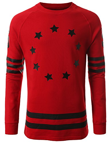 URBANCREWS Hipster Hip-Hop French Terry Star Sweatshirts Pullover RED 2XLARGE